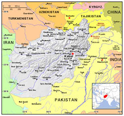 Political map of Afghanistan.