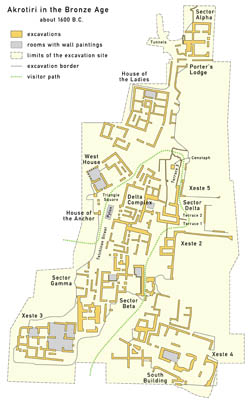 Detailed map of Akrotiri 1600 BC in english.