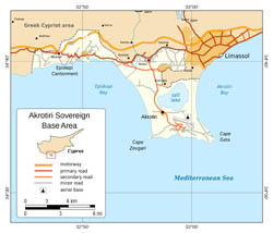Detailed political map of Akrotiri.