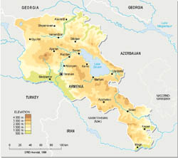 Detailed physical map of Armenia.