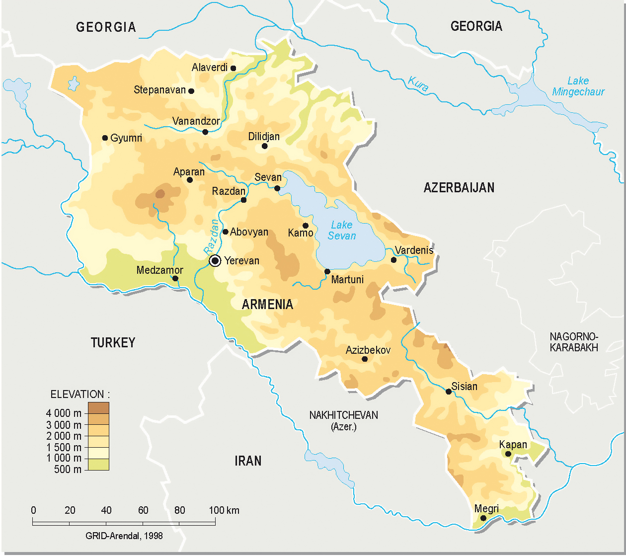 Do you have questions about where Armenia is? Here is a online map of Armenia showing the borders of Turkey, Georgis, Azerbaijan, and Iran