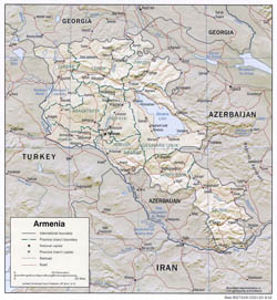 Detailed political and administrative map of Armenia with relief, roads and cities - 2002.