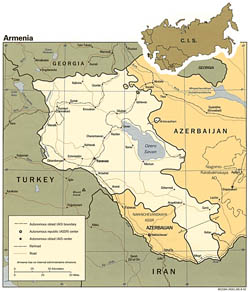 Detailed political map of Armenia - 1992.