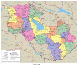 Large detailed political and administrative map of Armenia.