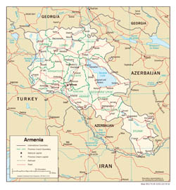 Large detailed political and administrative map of Armenia with roads and cities - 2002.