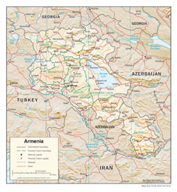 Large detailed political and administrative map of Armenia with roads, cities and relief - 2002.