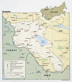 Large detailed political map of Armenia with roads and major cities - 1991.
