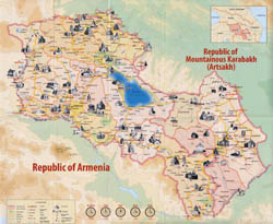 Large detailed tourist map of Armenia.