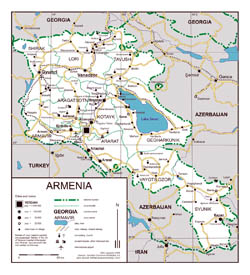 Large road map of Armenia.