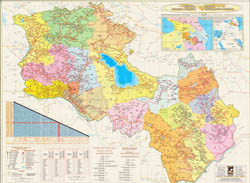 Large scale detailed political and administrative map of Armenia with roads and all cities.