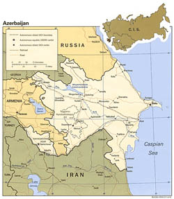Detailed political map of Azerbaijan - 1992.