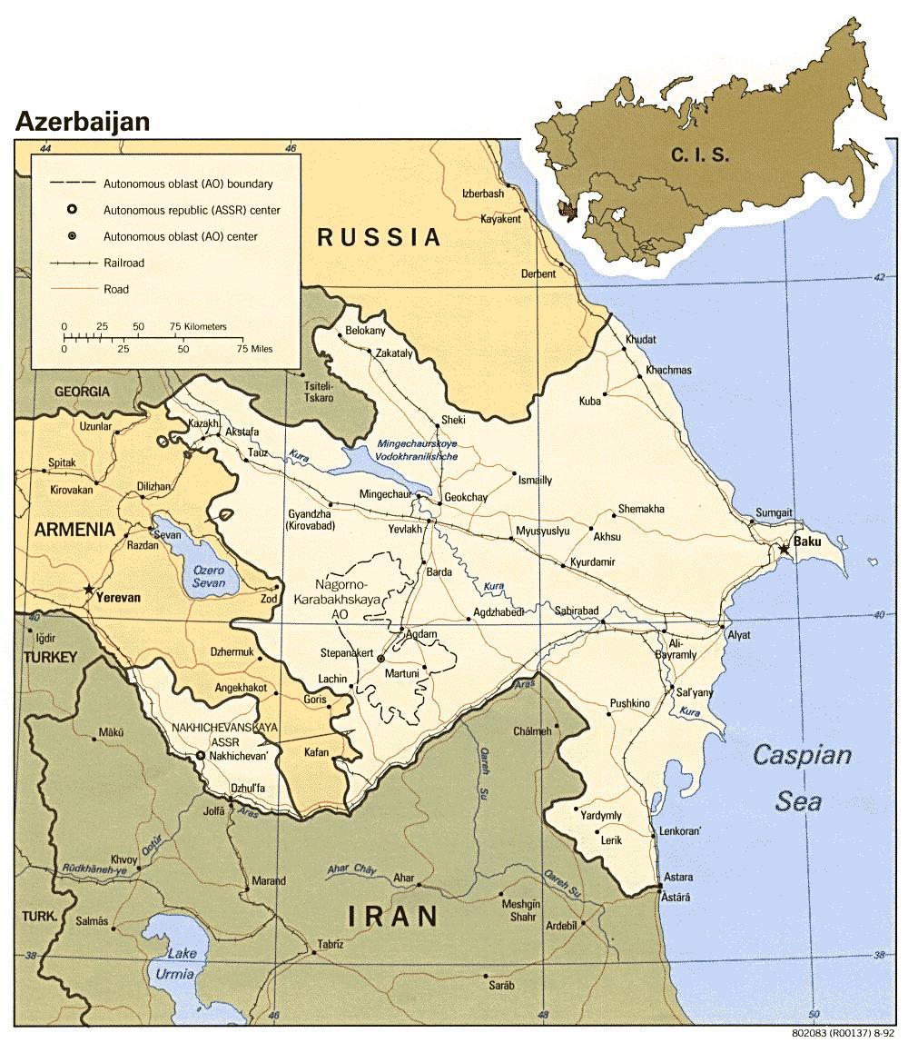 Maps of Azerbaijan Detailed map of Azerbaijan in English Tourist
