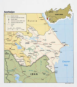 Large detailed political map of Azerbaijan - 1991.