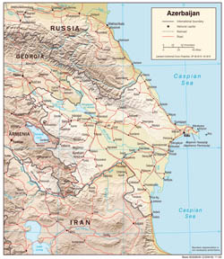 Large detailed political map of Azerbaijan with relief, roads and cities - 2004.