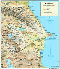 Large political map of Azerbaijan with relief, roads and cities - 2004.