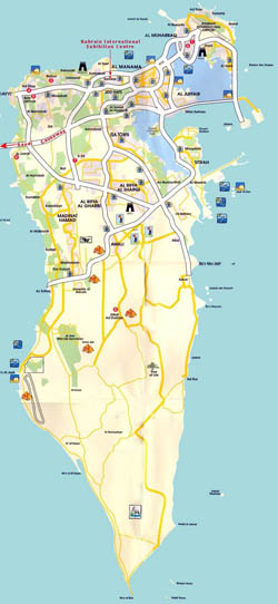 Detailed tourist map of Bahrain with roads.