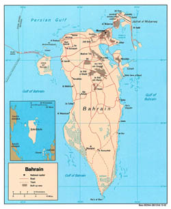 Large detailed political map of Bahrain with roads and cities - 2002.