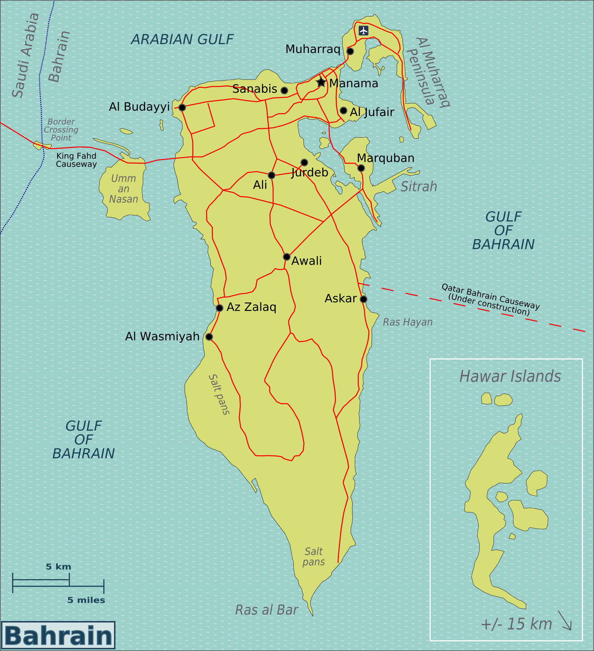 Maps of bahrain detailed map of bahrain in english tourist map large map of bahrain with roads cities and airports gumiabroncs Choice Image