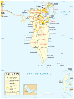 Large scale political map of Bahrain with all roads and cities.