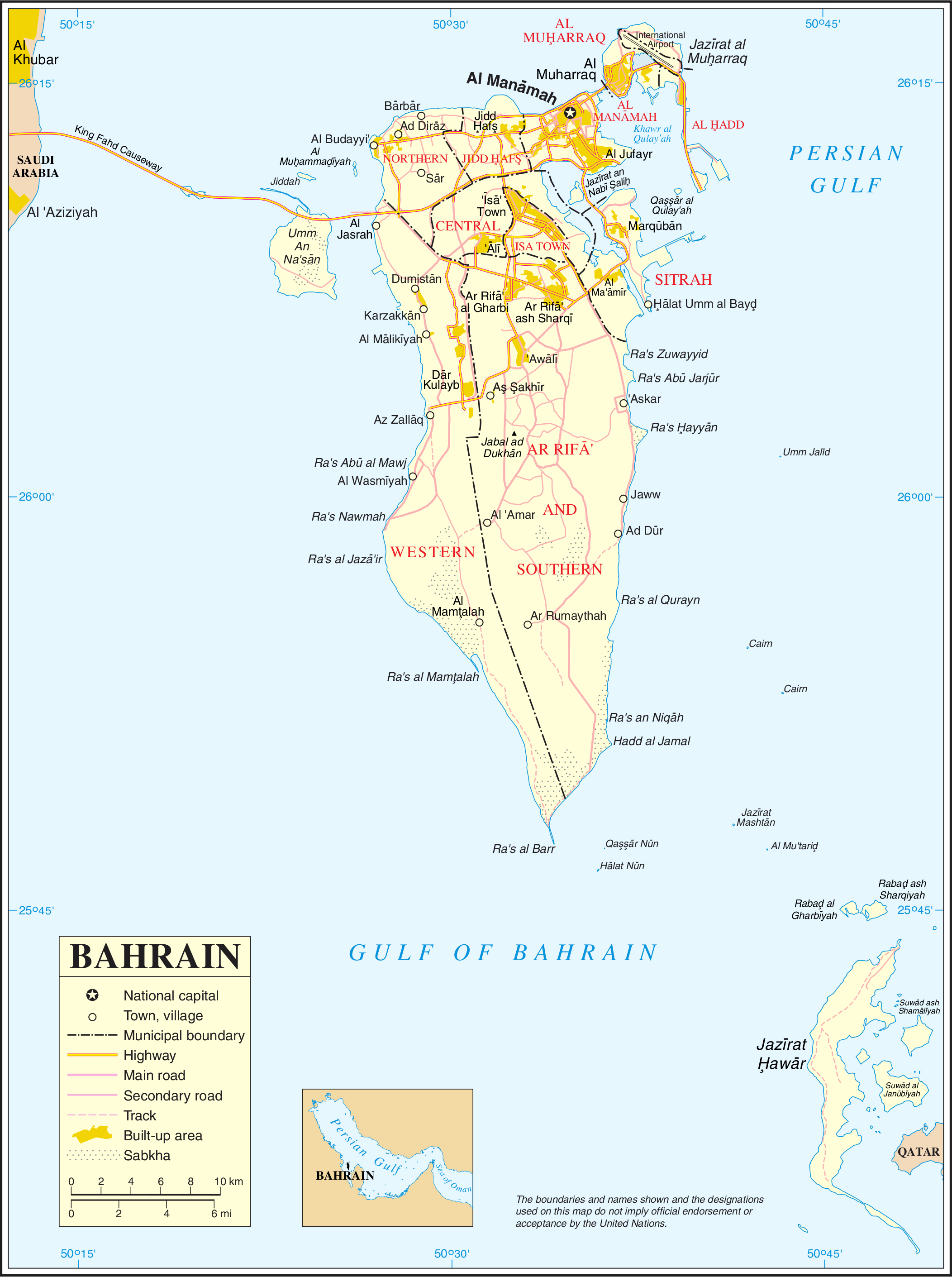 Maps of Bahrain Detailed map of Bahrain in English Tourist map