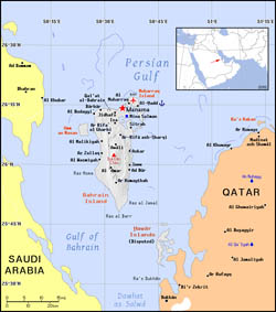 Political map of Bahrain.