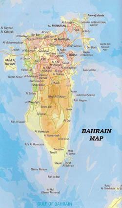 Road and elevation map of Bahrain.