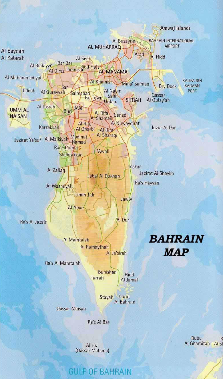 Maps of bahrain detailed map of bahrain in english tourist map road and elevation map of bahrain gumiabroncs Choice Image