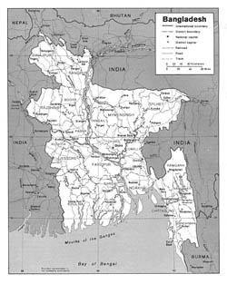 Detailed political and administrative map of Bangladesh with roads and cities.