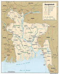 Detailed political map of Bangladesh - 1996.