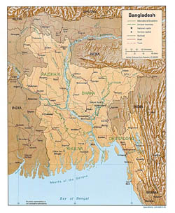 Detailed political map of Bangladesh with relief, roads and cities - 1996.