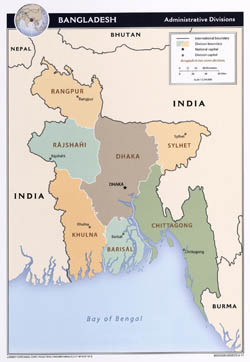 Large detailed administrative divisions map of Bangladesh - 2011.