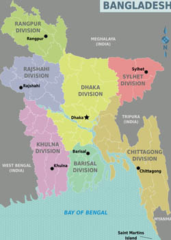 Large detailed administrative divisions map of Bangladesh.