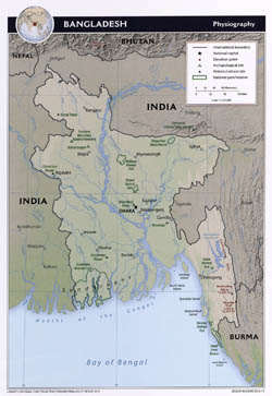 Large detailed physiography map of Bangladesh with major cities - 2011.