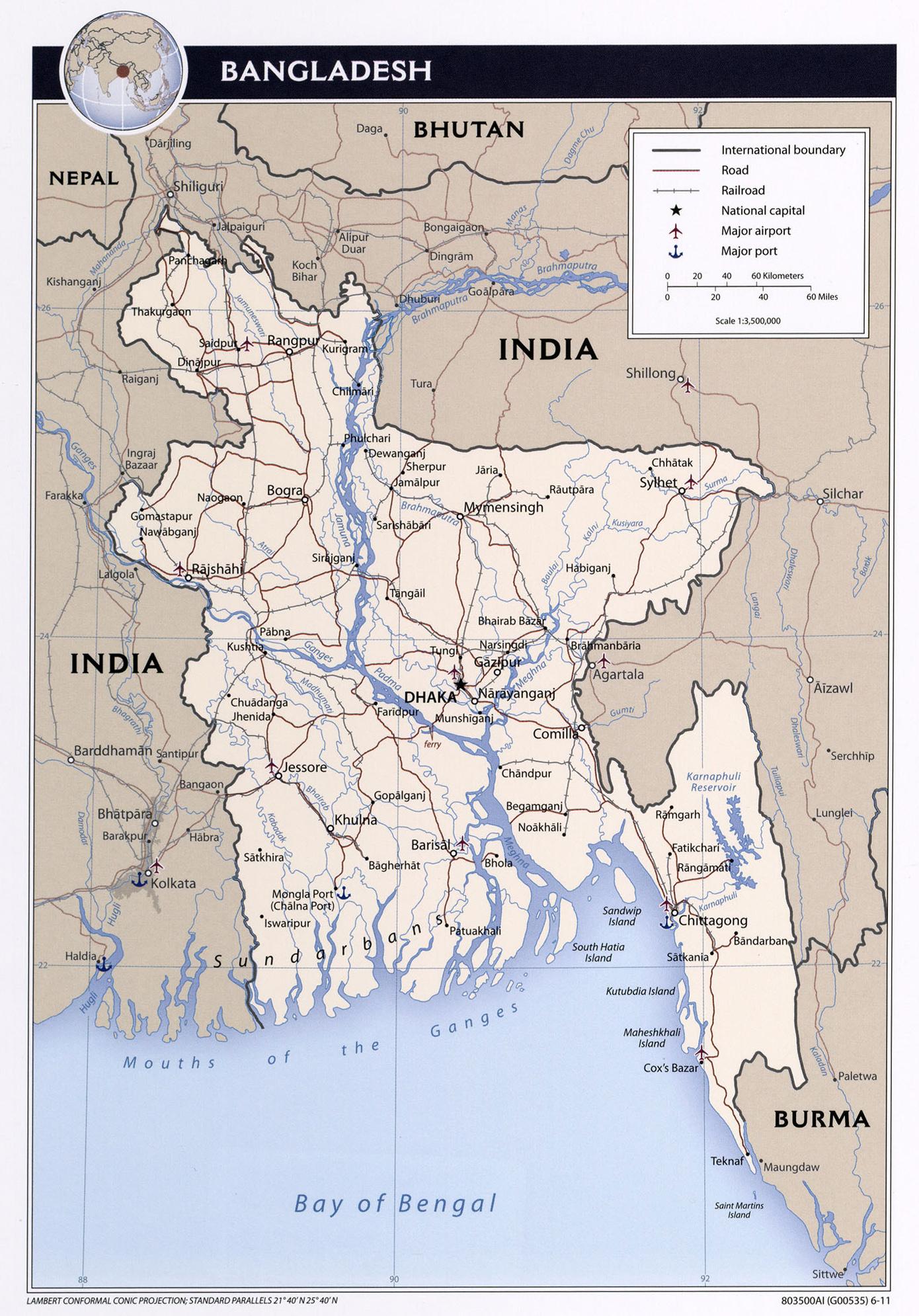 Maps of Bangladesh Detailed map of Bangladesh in English Tourist