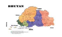 Administrative map of Bhutan.