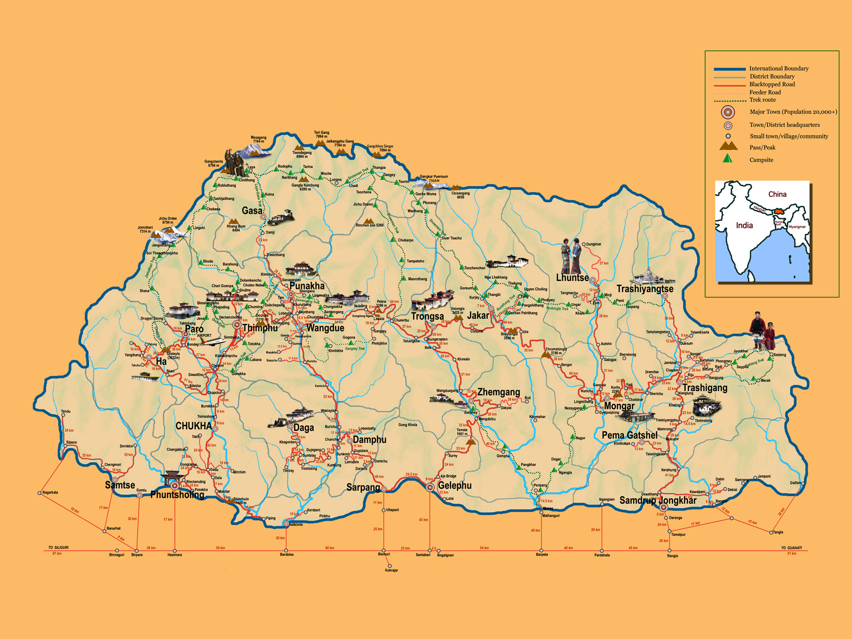 Maps of Bhutan | Detailed map of Bhutan in English | Tourist map of ...