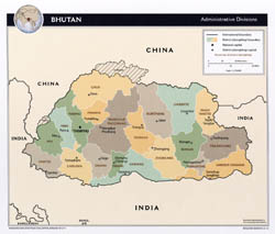 Large administrative divisions map of Bhutan with major cities - 2012.