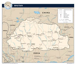 Large detailed political map of Bhutan with roads, major cities and airports - 2012.