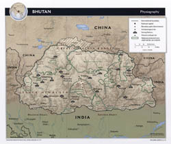 Large physiography map of Bhutan - 2012.