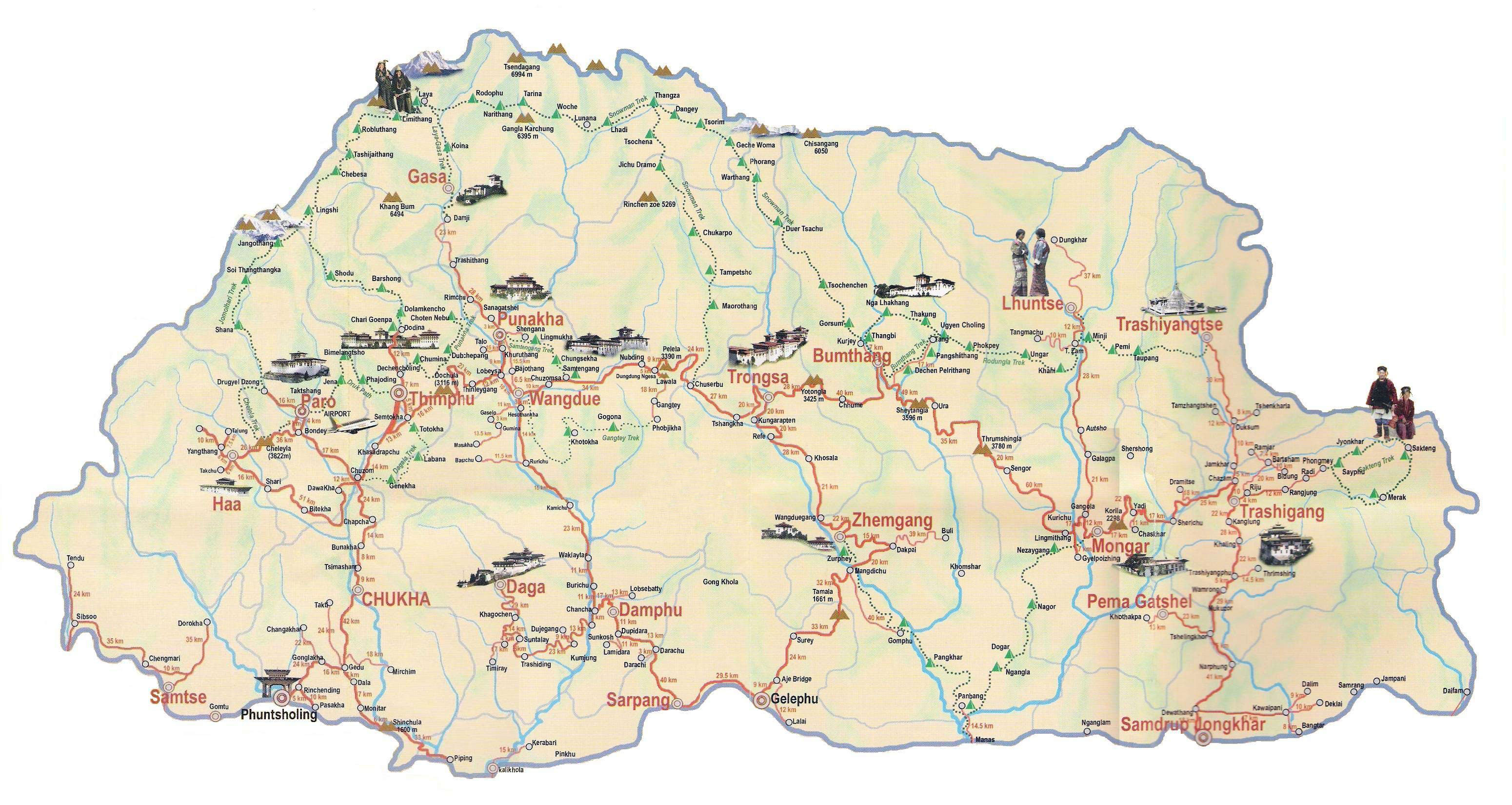 maps of bhutan  detailed map of bhutan in english  tourist map  - large tourist map of bhutan