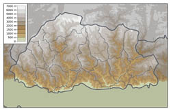 Physical map of Bhutan.