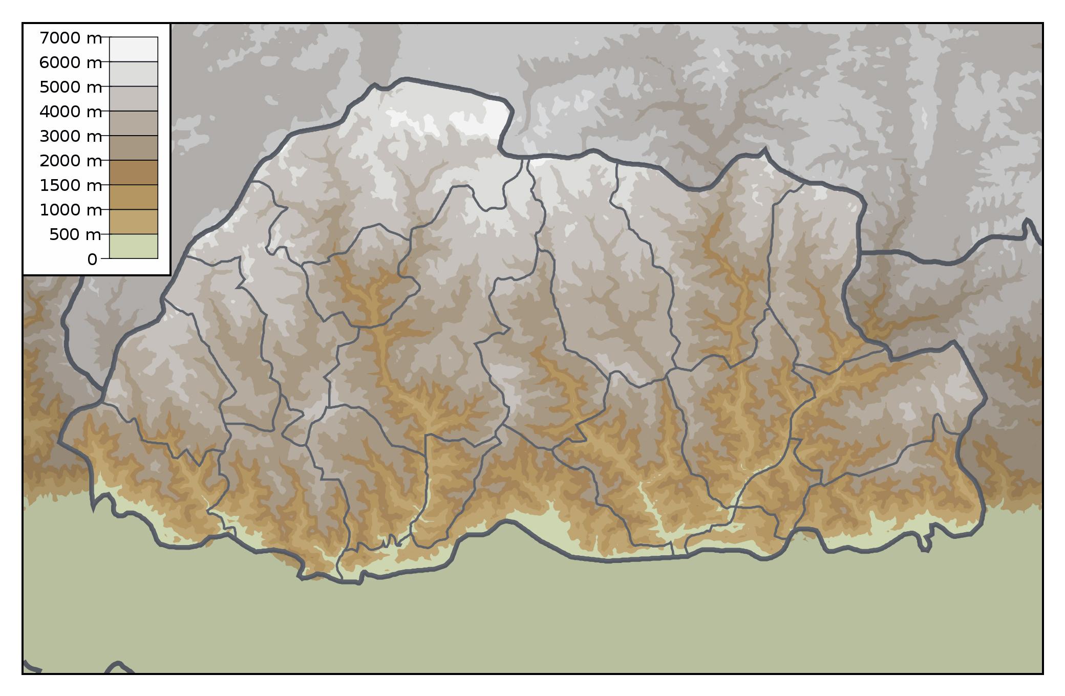 Maps of Bhutan   Detailed map of Bhutan in English   Tourist map of ...