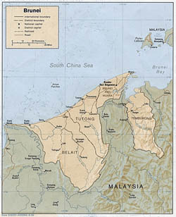 Detailed political and administrative map of Brunei with relief - 1984.