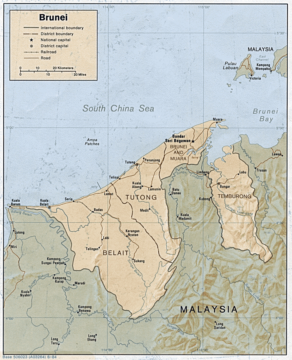 Maps of brunei detailed map of brunei in english tourist map of detailed political and administrative map of brunei with relief 1984 gumiabroncs Choice Image