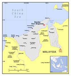 Detailed political map of Brunei.