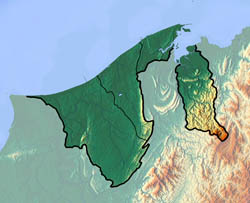 Detailed topographical map of Brunei.