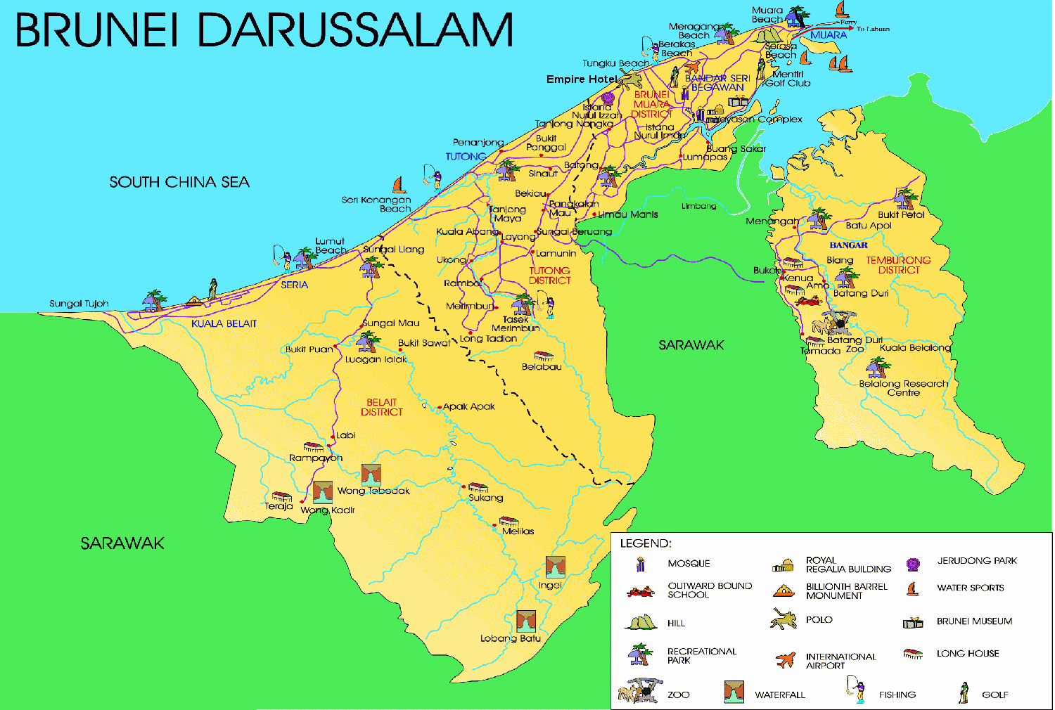 Maps of brunei detailed map of brunei in english tourist map detailed tourist map of brunei gumiabroncs Image collections
