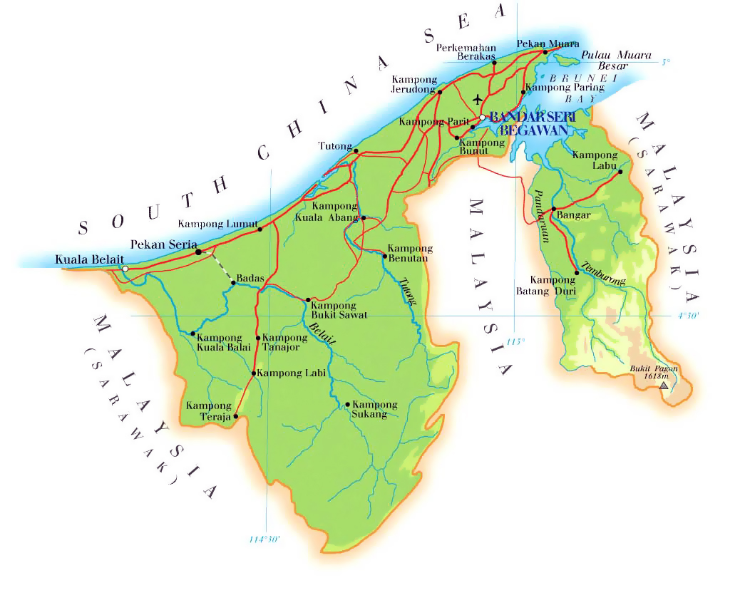 Maps Of Brunei Detailed Map Of Brunei In English Tourist Map - Brunei map