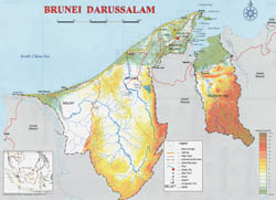 Large physical map of Brunei.
