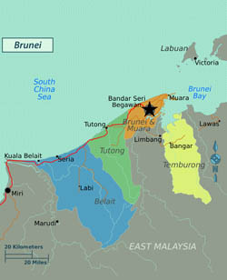 Large regions map of Brunei.